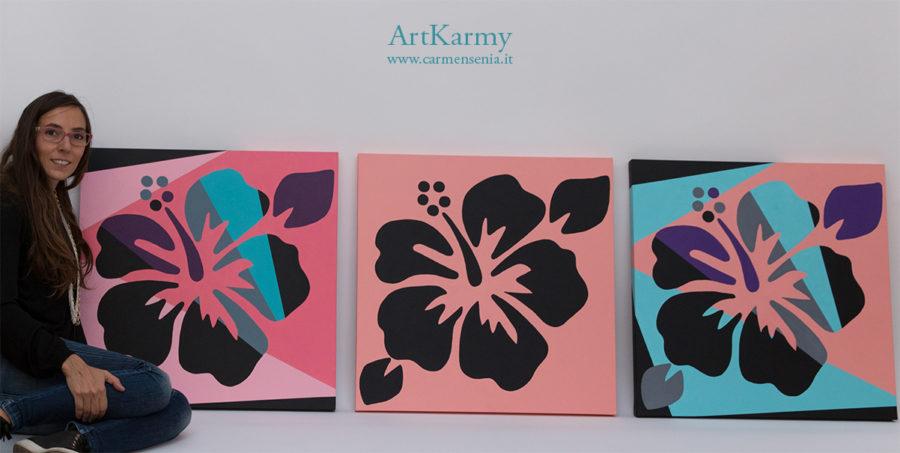tris floreale dipinti su tela