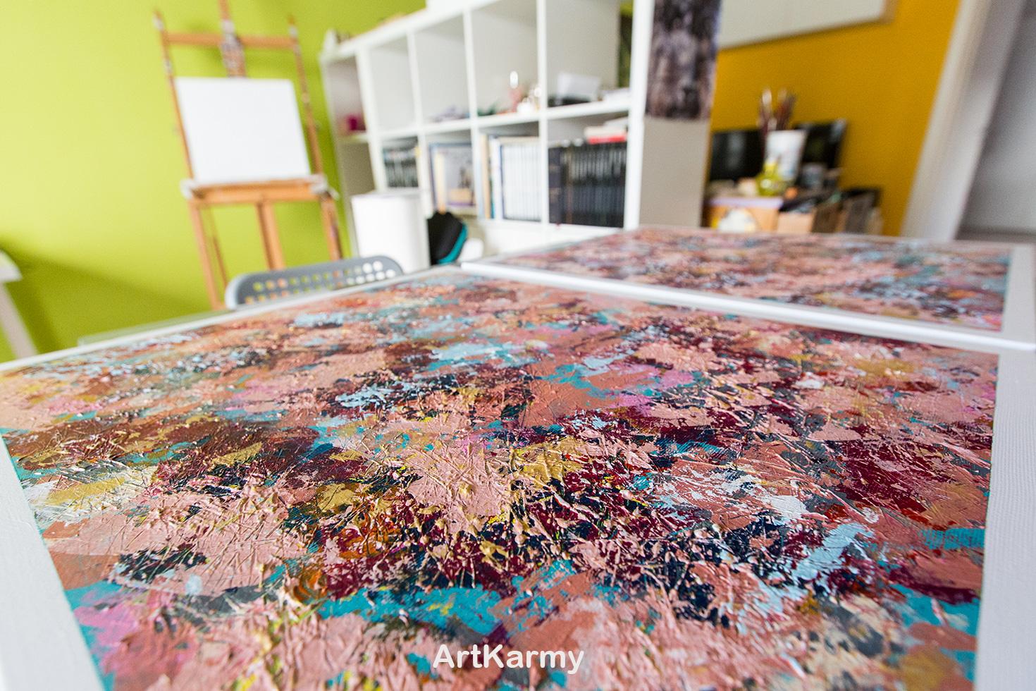coppia di dipinti astratto materici magnolia