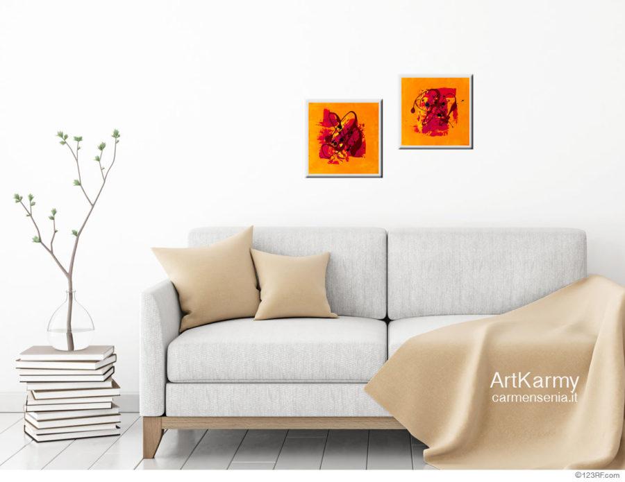 coppia di piccoli dipinti astratti