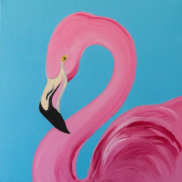 dipinto moderno fenicottero-rosa