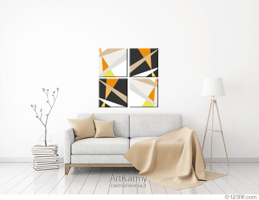 dipinto geometrico con colori neutri