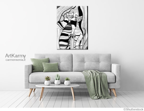 quadro moderno con gatti