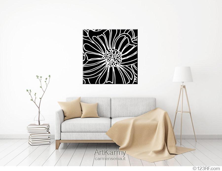 dipinto bianco e nero natura